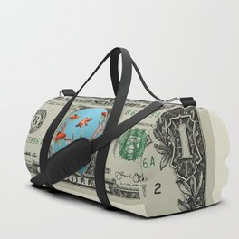 One Dollar note animal reindeer with goldfishes Duffle Bag