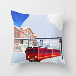 Grindelwald Ski Poster Throw Pillow