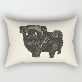 Black Pug Rectangular Pillow