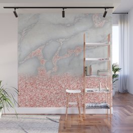 Sparkly Pink Rose Gold Glitter Ombre Bohemian Marble Wall Mural
