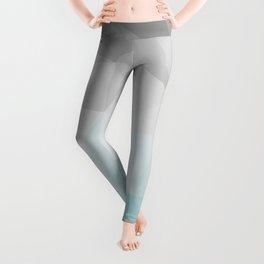 light blue and grey polygon Leggings