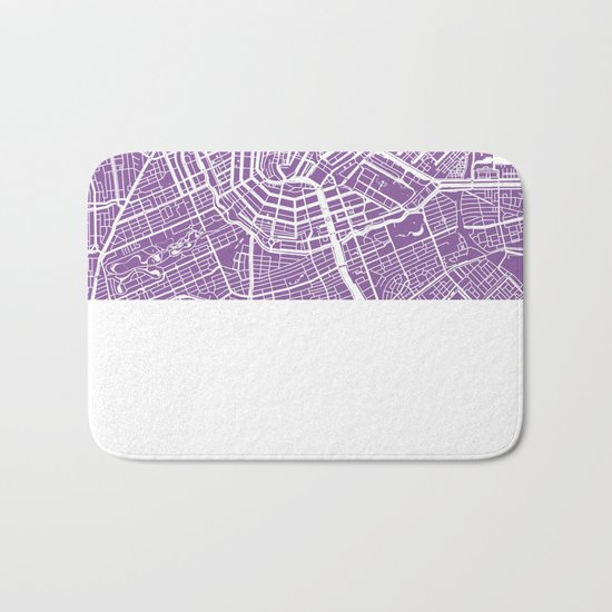 Amsterdam map lilac Bath Mat