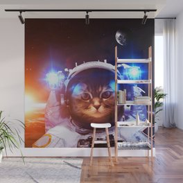 Funny Cat Astronaut #1 Wall Mural