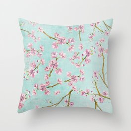 Spring Flowers - Cherry Blossom Pattern Throw Pillow