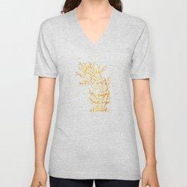 bent gold tree Unisex V-Neck