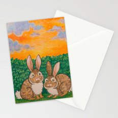 Rabbits in the Bushes Stationery Cards