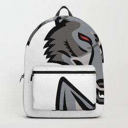 Gray Coyote Head Mascot Backpack