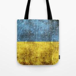 Vintage Aged and Scratched Ukrainian Flag Tote Bag