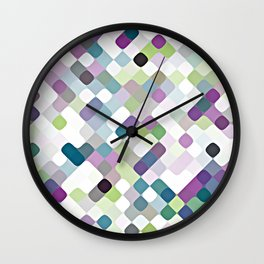 Purple Lime Green Abstract Rounded Squares Pattern Wall Clock