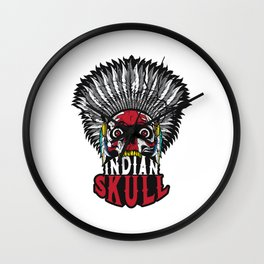 Indian Skull Warrior Is Ready For Battle With His Feathered Headdress T-shirt Design Fighter Native Wall Clock