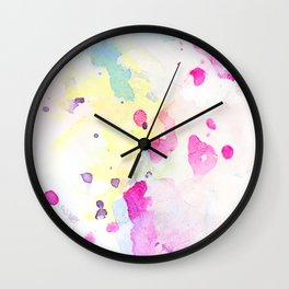 Dream in a dream_Pink watercolor abstract drawing Wall Clock