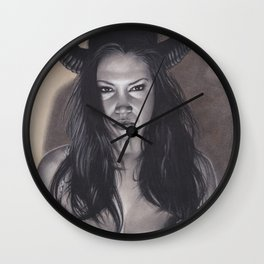 Realism Drawing of a Sexy Devilish Woman with Coffee Stained Background Wall Clock