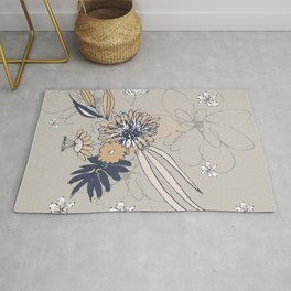 Taupe Contemporary Line Art Flowers Rug