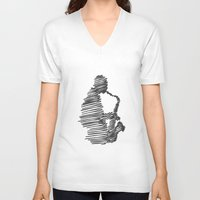 jazz V-neck T-shirts featuring jazz  by Zuhal Arslan
