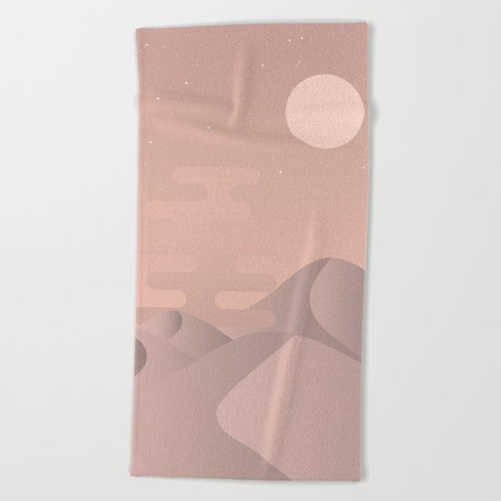Rose gold desert Beach Towel
