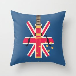 Union Jack Flag Britpop Guitar - Navy Throw Pillow