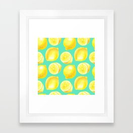 Watercolor lemons pattern Framed Art Print