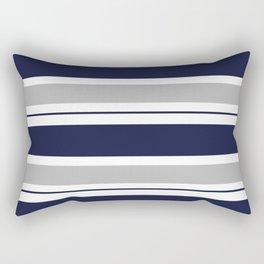 Navy Blue and Grey Stripe Rectangular Pillow