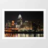 cincinnati Art Prints featuring Cincinnati Skyline  by Gr-zzly