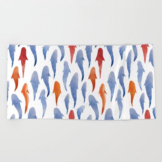 Watercolor Shark Pattern Beach Towel