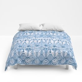 Tribal Owl Feathers in Delft Blue Comforters