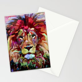 Colorful Lion Painting Stationery Cards