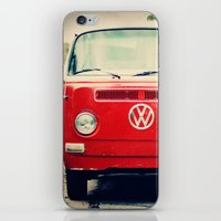 vw bus iPhone & iPod Skins featuring Red VW Bus by Anna Dykema Photography