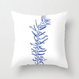 Blue Delft Seaweed Throw Pillow
