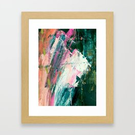 Meditate [2]: a vibrant, colorful abstract piece in bright green, teal, pink, orange, and white Framed Art Print