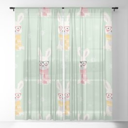 White rabbit Christmas pattern 001 Sheer Curtain