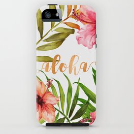 Aloha Watercolor Tropical Hawaiian leaves and flowers iPhone Case