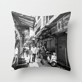 People walking in a street in Old Delhi, India Throw Pillow