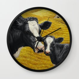 Holstein Cow and Cute Calf Wall Clock