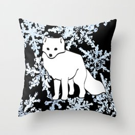 Foxes & Flakes Throw Pillow