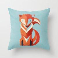 fox Throw Pillows featuring Fox by Jay Fleck