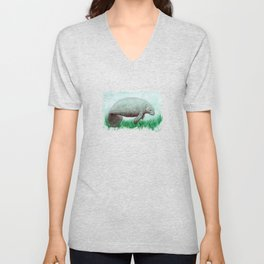 """The Manatee"" by Amber Marine ~ Watercolor Painting, (Copyright 2015) Unisex V-Neck"