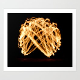 Fire show flaming trails Art Print