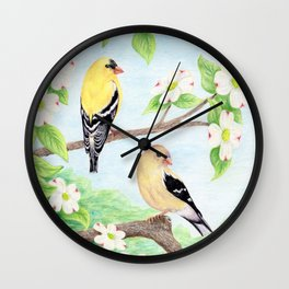 Goldfinches in Dogwood Wall Clock