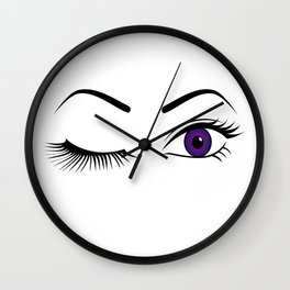 Violet Wink (Left Eye Open) Wall Clock