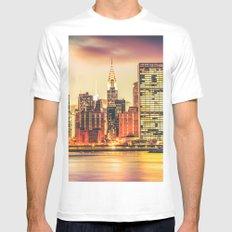 New York City Skyline MEDIUM White Mens Fitted Tee