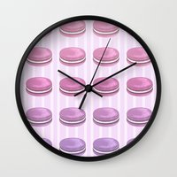 macarons Wall Clocks featuring Macarons by noirbriar