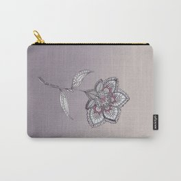 Muted Flower Design Carry-All Pouch