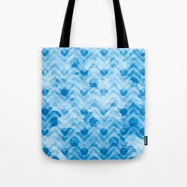 Aqua Blue Polkadots & Chevrons Pattern Tote Bag