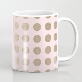Simply Polka Dots White Gold Sands on Flamingo Pink Coffee Mug