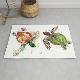 Turtles, Olive Green Cherry Colored Sea Turtles, turtle Rug