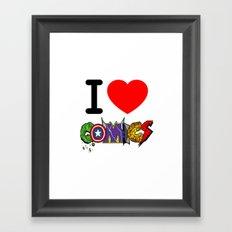 I LOVE COMICS Framed Art Print