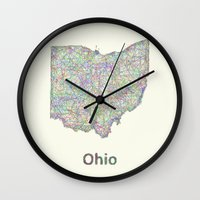 ohio state Wall Clocks featuring Ohio map by David Zydd