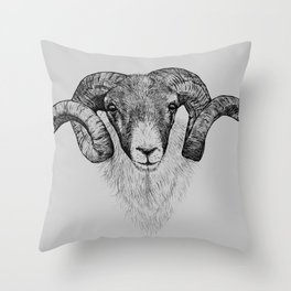 Scottish Black Face Sheep, pen and ink illustration, black and grey Throw Pillow