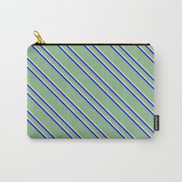 Dark Sea Green, Pale Goldenrod, and Blue Colored Striped Pattern Carry-All Pouch