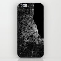 chicago map iPhone & iPod Skins featuring Chicago map by Line Line Lines